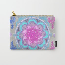 Pink, Purple and Turquoise Super Boho Doodle Medallions Carry-All Pouch
