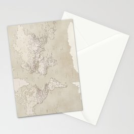 Sepia vintage world map with cities Stationery Cards