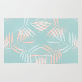 Palm Leaves Lace on Aqua Rug