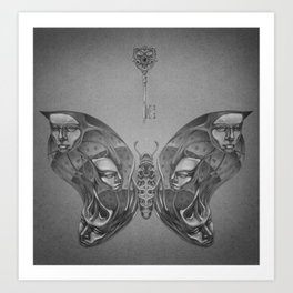 Faces Butterfly 3 Art Print
