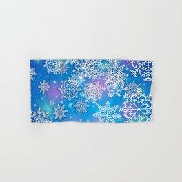 Snowflake background blue purple Hand & Bath Towel