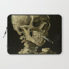 Skull of a Skeleton with Burning Cigarette - Van Gogh Laptop Sleeve