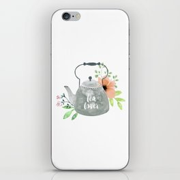 Watercolor Flower Teapot iPhone Skin