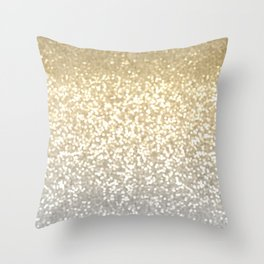 Gold and Silver Glitter Ombre Throw Pillow