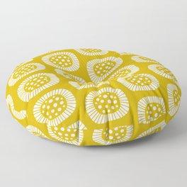 Mid Century Modern Atomic Sunburst Mustard Yellow Floor Pillow