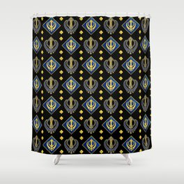 Gold and Lapis Lazuli Khanda symbol pattern Shower Curtain