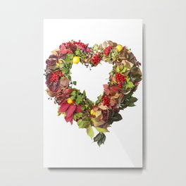 Autumnal wreath in the shape of heart from colored leaves of grapes, berries, quince, isolated on wh Metal Print
