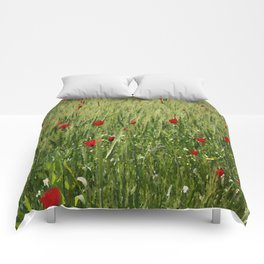 Red Poppies Growing In A Corn Field  Comforters