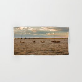 Cows Among the Grass - Cattle Wade Through a Field in Texas Hand & Bath Towel