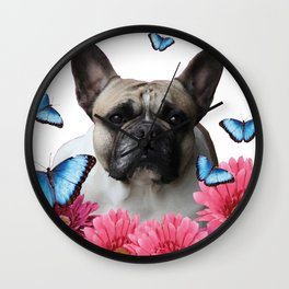 Pug with butterflies and Gerbera Flowers Wall Clock