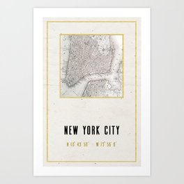 Vintage New York City Gold Foil Location Coordinates with map Art Print
