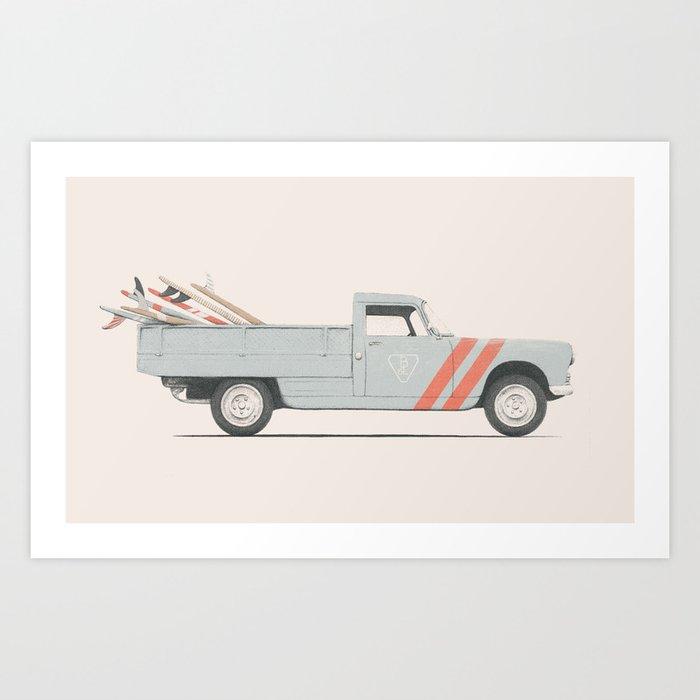 Surfboard Pick Up Van Art Print