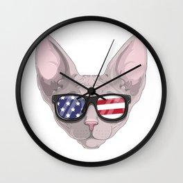 Patriotic  Sphynx Cat Kitty Merica American Flag Wall Clock