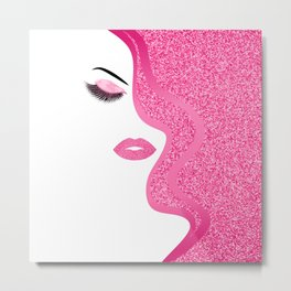 Pink glitte woman Metal Print