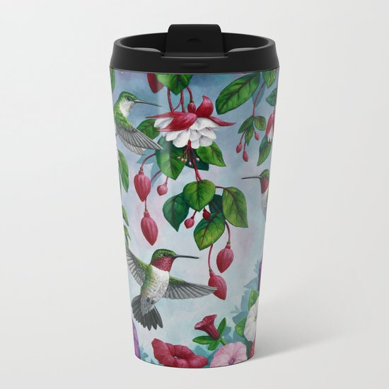 Hummingbirds in Fuchsia Flower Garden Metal Travel Mug