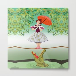 The Umbella girl With crocodile Metal Print
