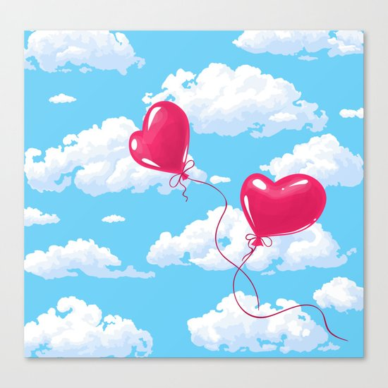 Two heart shaped red balloons Canvas Print