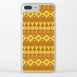 Mudcloth Style 2 in Burnt Orange and Yellow Clear iPhone Case