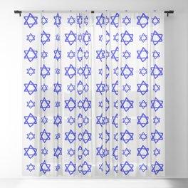 star of david 41 - blue Sheer Curtain