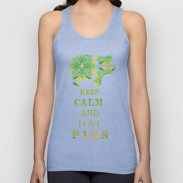 Keep calm and love pigs Unisex Tank Top