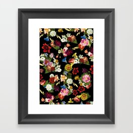 Flowery (black version) Framed Art Print