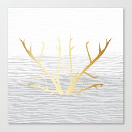 368 6 Gold Antlers on White and Gray Canvas Print