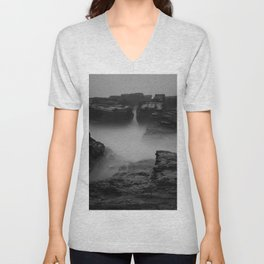 Godrevy Sea Mist and Fog, Cornwall, England, United Kingdom Unisex V-Neck