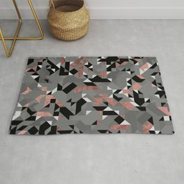 Abstract geometric modern rose gold black gray shapes triangles Rug