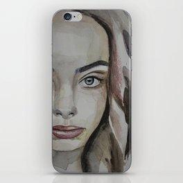 watercolor portrait beautiful girl iPhone Skin
