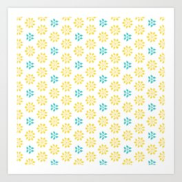 Spring Yellow Blue Flower Pattern Art Print