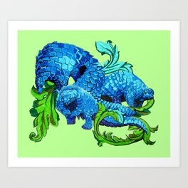 Floral Pangolins Art Print