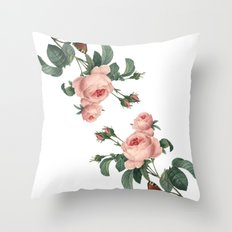 Butterflies in the Rose Garden on White Throw Pillow