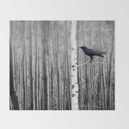 Black Bird Crow Tree Birch Forrest Black White Country Art A135 Throw Blanket