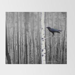Black Bird Crow Tree Birch Forrest Black White Country Art A135 Throw Blanket
