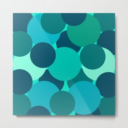 Abstract Circles Blue-Green Metal Print