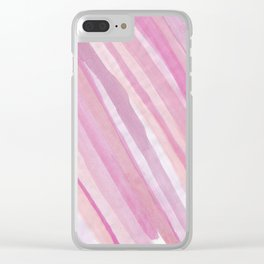 Pink Stripes at Angle 1 Clear iPhone Case