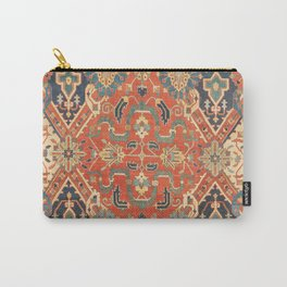 Geometric Leaves VII // 18th Century Distressed Red Blue Green Colorful Ornate Accent Rug Pattern Carry-All Pouch