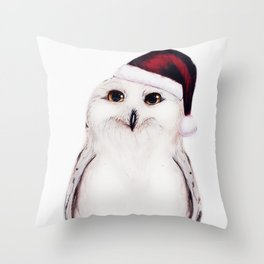 Snowy Christmas Owl  Throw Pillow