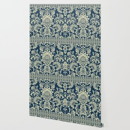damask in white and blue vintage Wallpaper