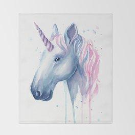 Blue Pink Unicorn Throw Blanket