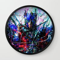 optimus prime Wall Clocks featuring OPTIMUS PRIME by Radit_G