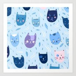 Little blue cats Art Print