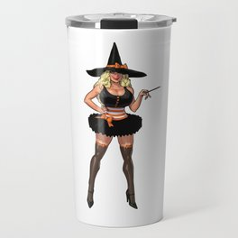 Halloween witch pumpkin sabrina scary graveyard sexy spooky spider broomstick hat holiday bats Travel Mug