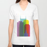 nashville V-neck T-shirts featuring Shapes of Nashville by Glen Gould