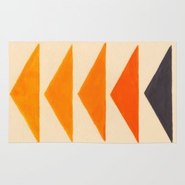 Vintage Scandinavian Orange Geometric Triangle Pattern Rug
