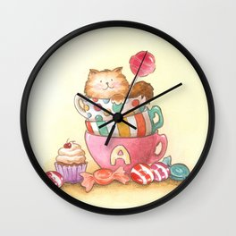 Cups, candy and a cat Wall Clock