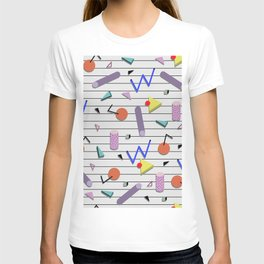 Seamless colorful pattern in retro style on white background with strips T-shirt