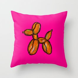 Doggy - orange & pink Throw Pillow