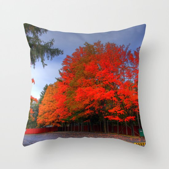 Falling for Red Throw Pillow