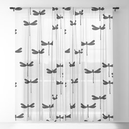 Dragonfly Insect Monochrome white print design patern Sheer Curtain